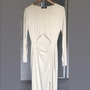 Missguided Cream Slinky Cut Out Midi Dress